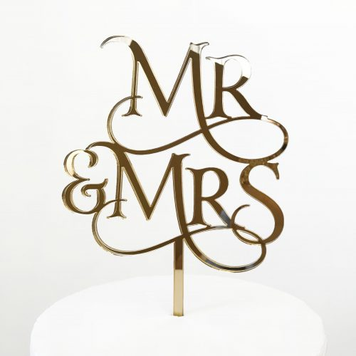Magical Mr and Mrs Cake Topper Gold Mirror