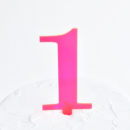 Number 1 Cake Topper Neon Pink