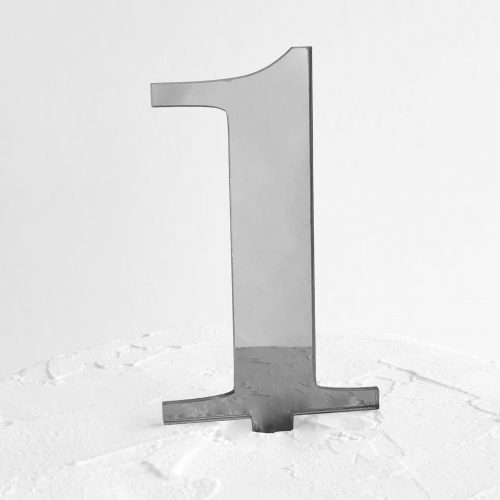 Number 1 Cake Topper Silver