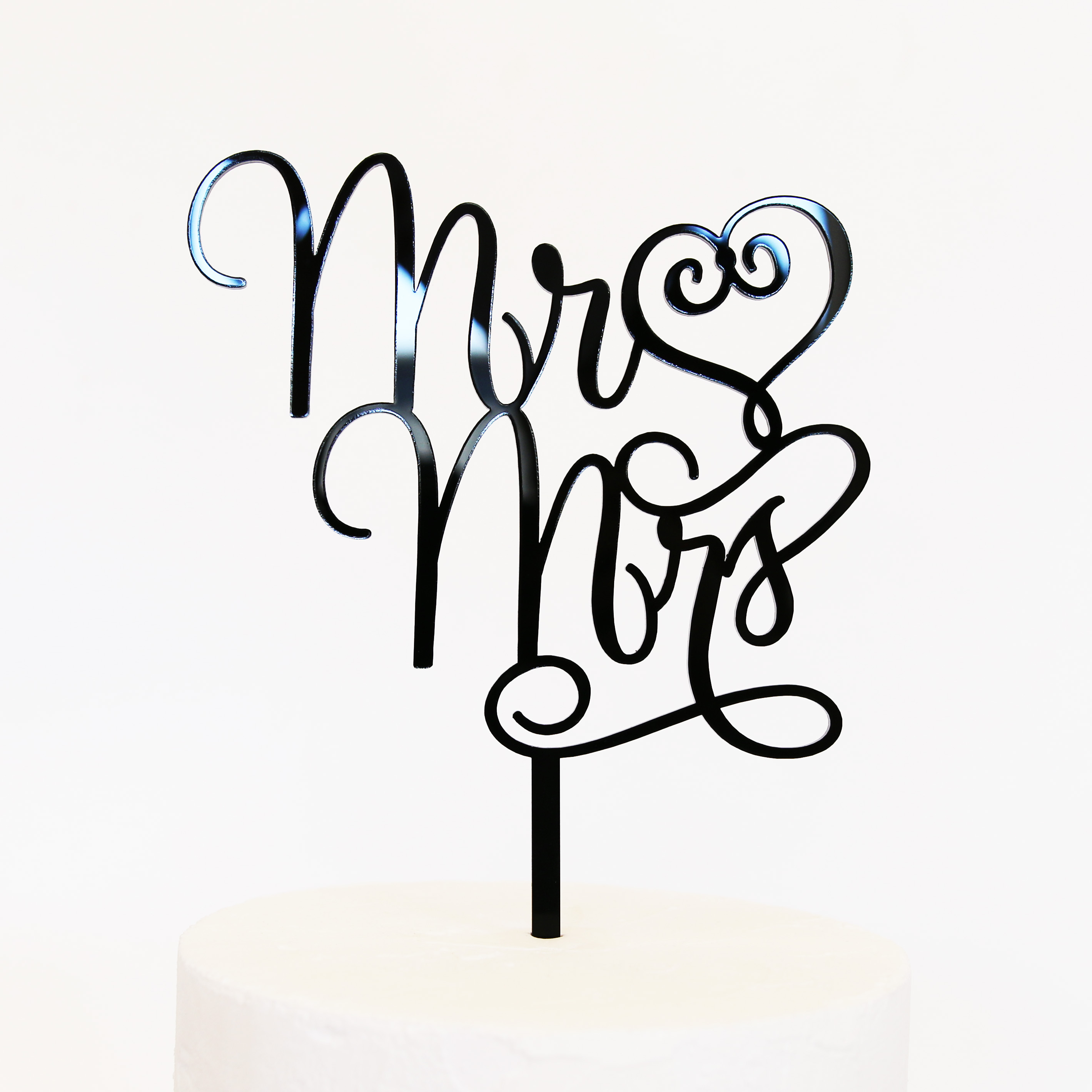 Mr And Mrs Cake Topper Silver Mirror