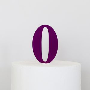 Number 0 Cake Topper Purple
