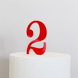 Number 2 Cake Topper in Red