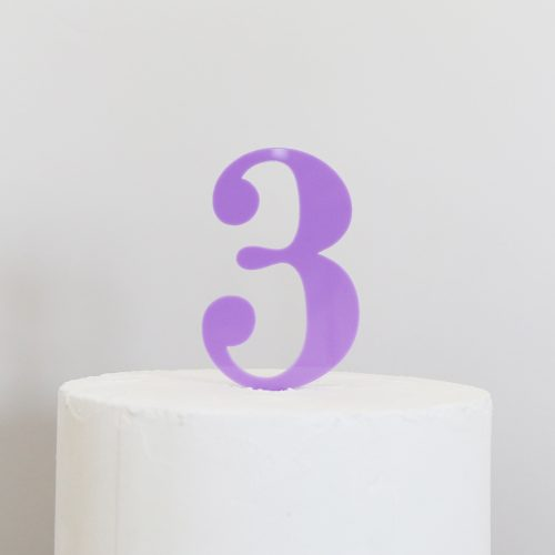 Number 3 Cake Topper Mauve
