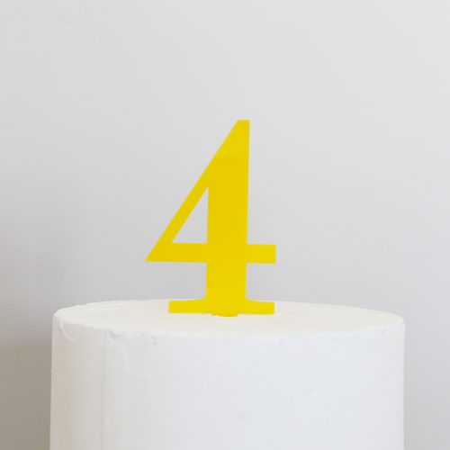 Number 4 Cake Topper Yellow