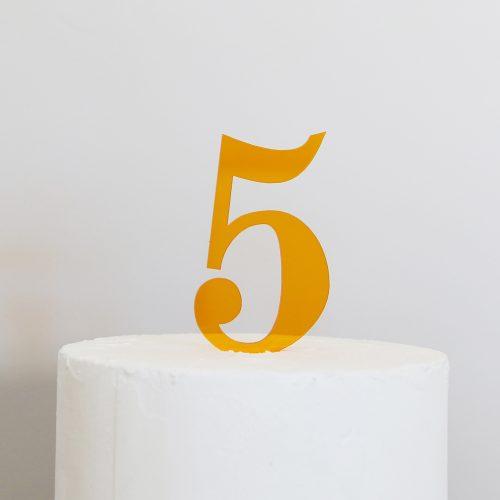 Number 5 Cake Topper Amber