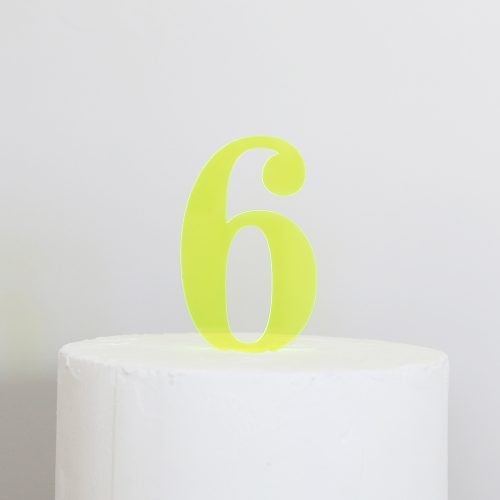Number 6 Cake Topper Neon Green