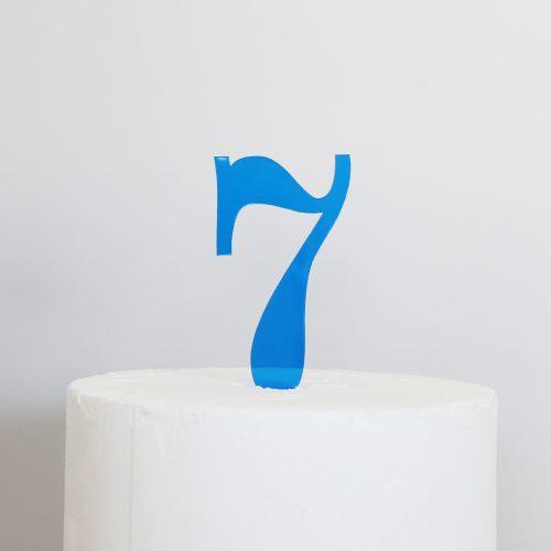 Number 7 Cake Topper Blue