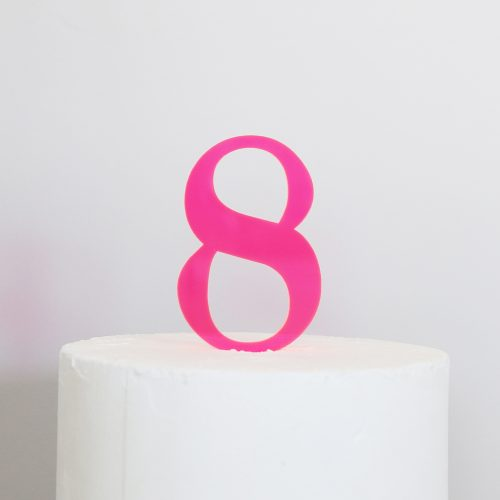 Number 8 Cake Topper Neon Pink