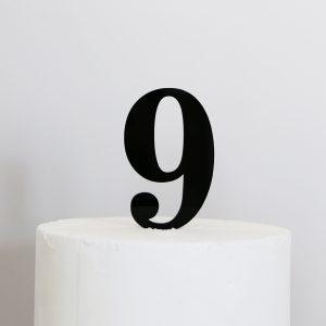 Number 9 Cake Topper Black