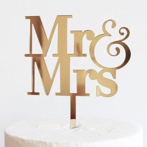 Simple Mr and Mrs Cake Topper in Gold Mirror