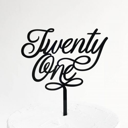 Small Elegant Twenty One Cake Topper in Black