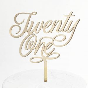Small Elegant Twenty One Cake Topper in Gold Mirror