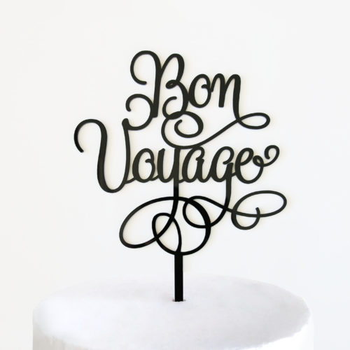 Bon Voyage Cake Topper in Black