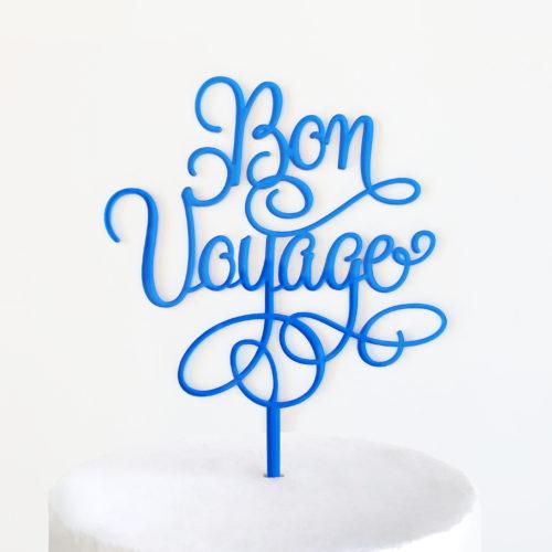 Bon Voyage Cake Topper Blue
