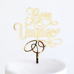 Bon Voyage Cake Topper in Gold Mirror