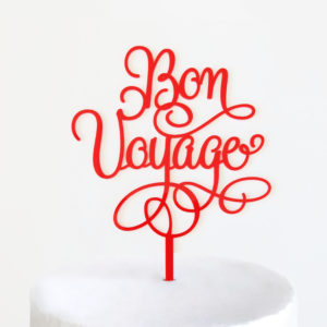 Bon Voyage Cake Topper in Red