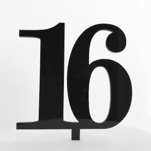 Classic Number 16 Cake Topper in Black