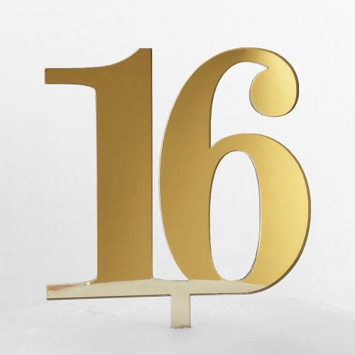 Classic Number 16 Cake Topper in Gold Mirror