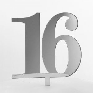 Classic Number 16 Cake Topper in Silver Mirror
