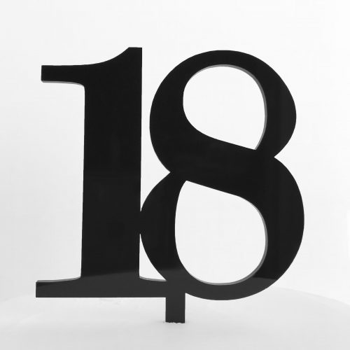 Classic Number 18 Cake Topper in Black