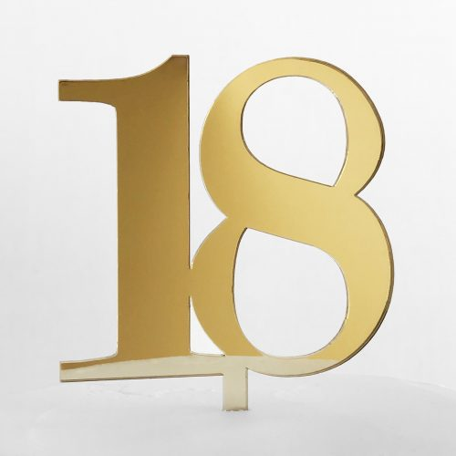 Classic Number 18 Cake Topper in Gold Mirror