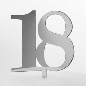 Classic Number 18 Cake Topper in Silver Mirror