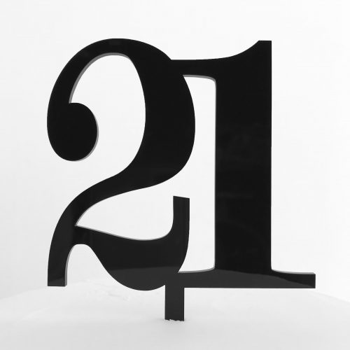 Classic Number Cake Topper 21 in Black