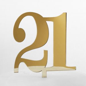 Classic Number 21 Cake Topper in Gold Mirror