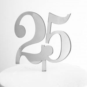 Classic Number 25 Cake Topper in Silver Mirror
