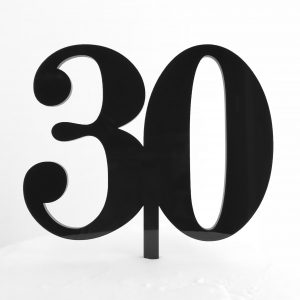 Classic Number 30 Cake Topper in Black