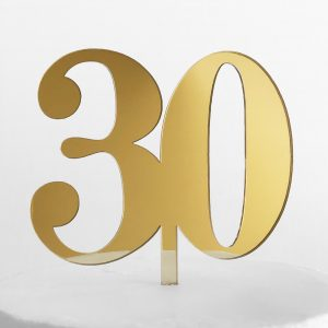 Classic Number 30 Cake Topper in Gold Mirror