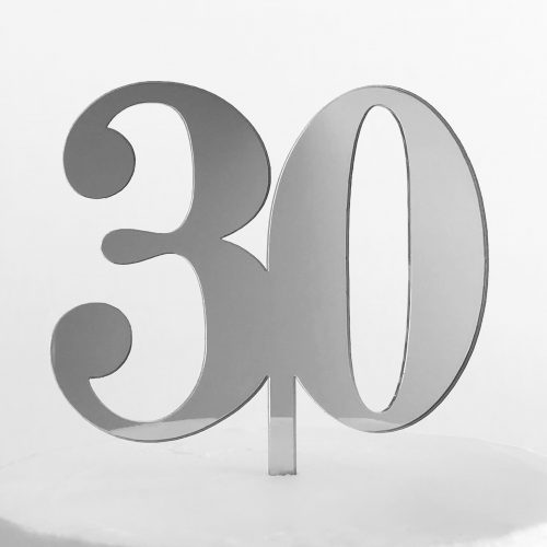 Classic Number 30 Cake Topper in Silver Mirror