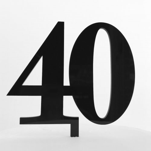 Classic Number 40 Cake Topper in Black