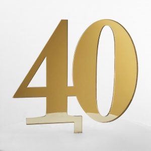 Classic Number 40 Cake Topper in Gold Mirror