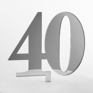 Classic Number 40 Cake Topper in Silver Mirror