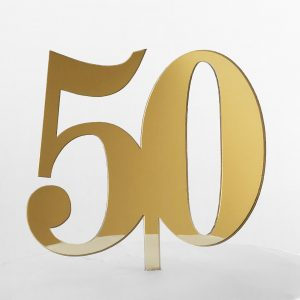 Classic Number 50 Cake Topper in Gold Mirror