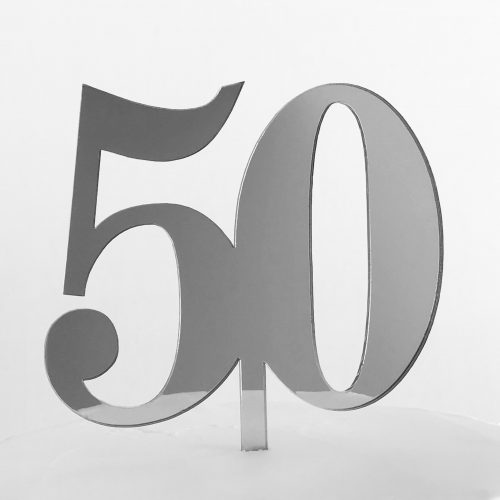 Classic Number 50 Cake Topper in Silver Mirror