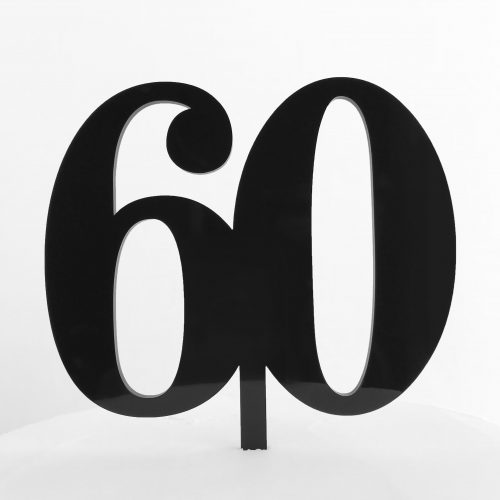 Classic Number 60 Cake Topper in Black