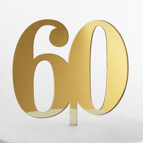 Classic Number 60 Cake Topper in Gold Mirror