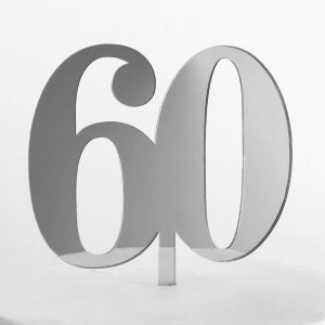 Classic Number 60 Cake Topper in Silver Mirror