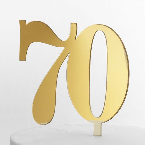 Classic Number 70 Cake Topper in Gold Mirror
