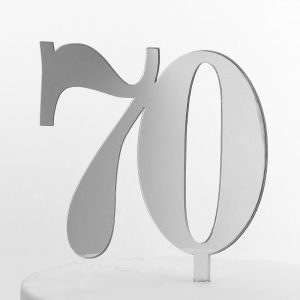 Classic Number Cake Topper 70 in Silver Mirror