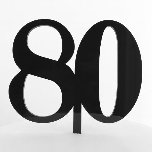 Classic Number 80 Cake Topper in Black