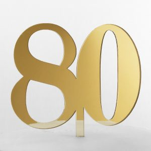 Classic Number 80 Cake Topper in Gold Mirror