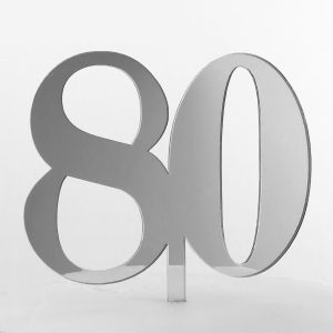 Classic Number 80 Cake Topper in Silver Mirror