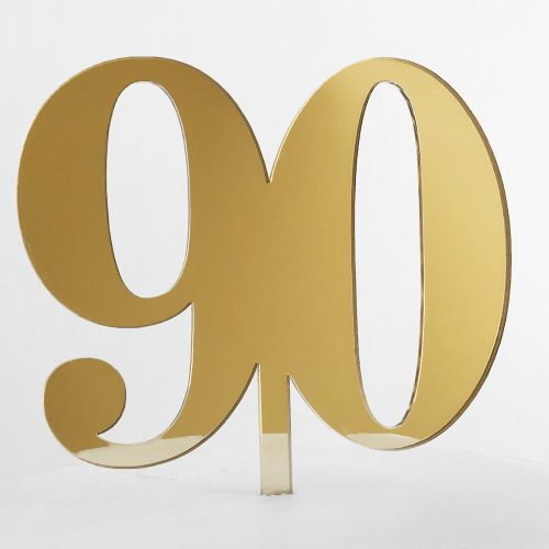 Classic Number 90 Cake Topper in Gold Mirror