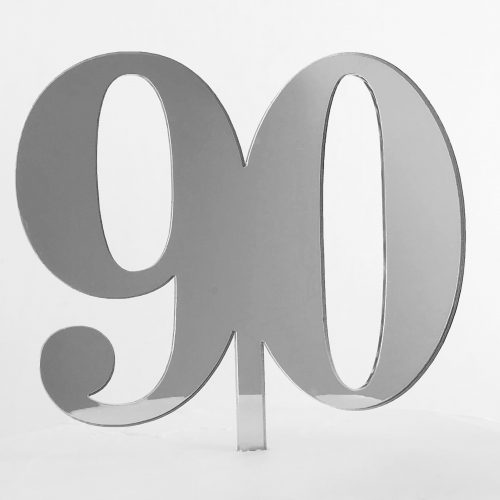 Classic Number 90 Cake Topper in Silver Mirror