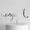 Engaged Cake Topper Silver