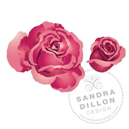 Rose Multi-Colour Stencil