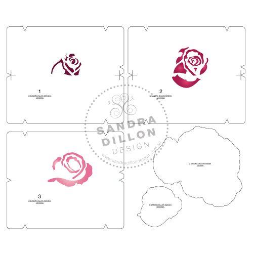 Rose Multi-Colour Stencil Bud Layers